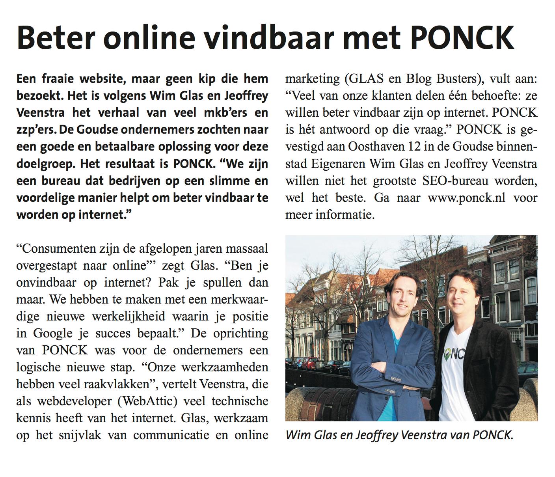 PONCK in de krant van Gouda