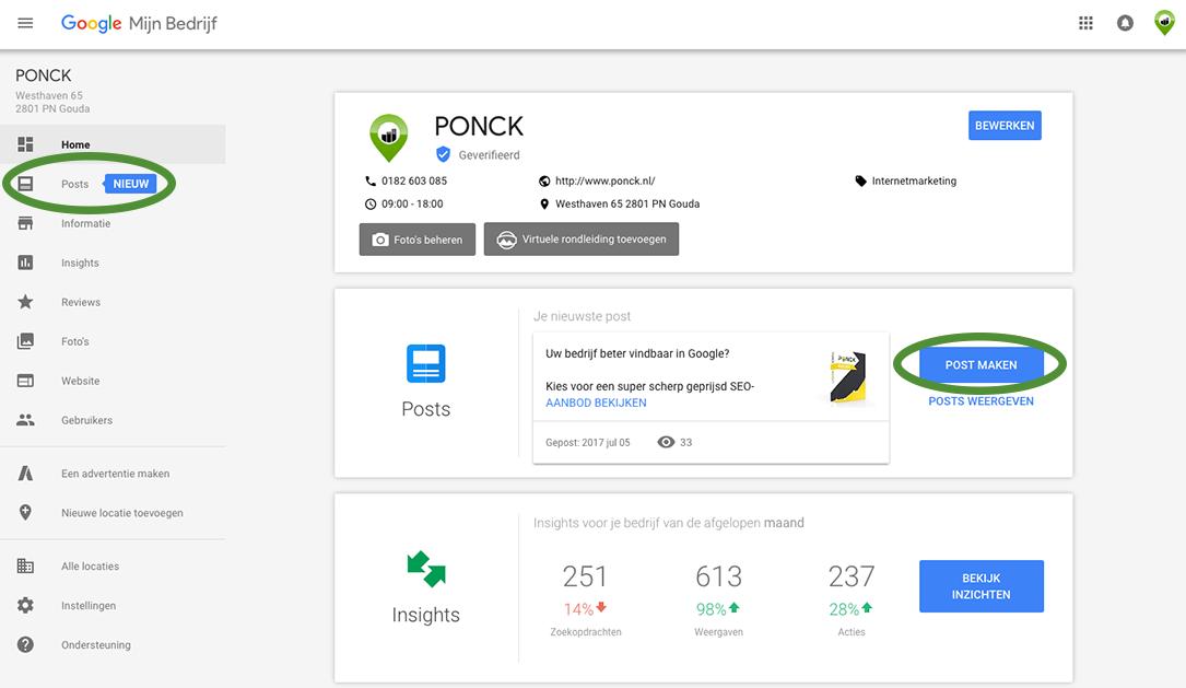 Google Mijn Bedrijf Posts