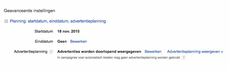 Google AdWords advertentieplanning