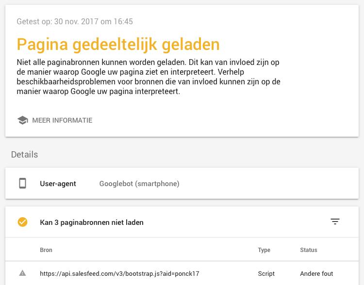 Pagina gedeeltelijk geladen mobielvriendelijke test website