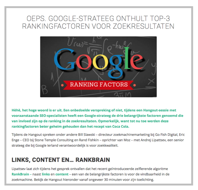 Google ranking-factoren-links-content-rankbrain