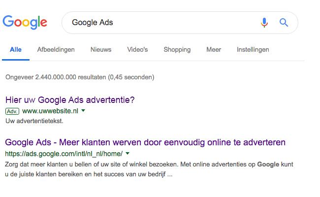 Google Ads Zoeknetwerk